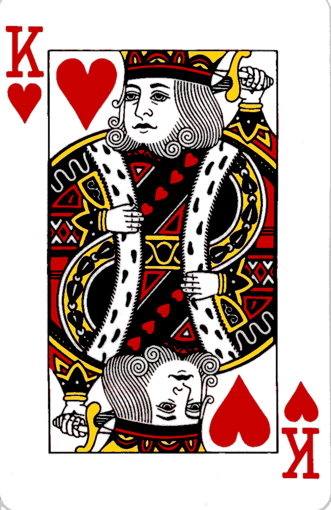 Playing cards: King of Hearts – 5 of Diamonds – King of Clubs
